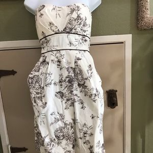 Strapless off white with brown flowers